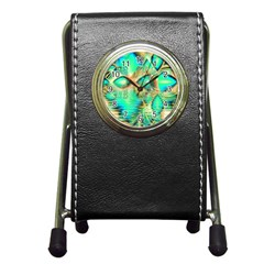 Golden Teal Peacock, Abstract Copper Crystal Stationery Holder Clock
