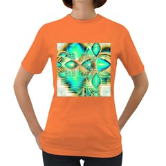 Golden Teal Peacock, Abstract Copper Crystal Women s T-shirt (Colored)