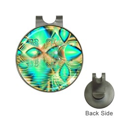 Golden Teal Peacock, Abstract Copper Crystal Hat Clip with Golf Ball Marker