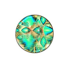 Golden Teal Peacock, Abstract Copper Crystal Golf Ball Marker (for Hat Clip)
