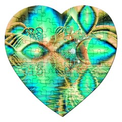 Golden Teal Peacock, Abstract Copper Crystal Jigsaw Puzzle (Heart)