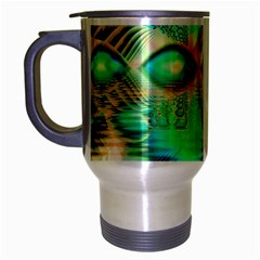 Golden Teal Peacock, Abstract Copper Crystal Travel Mug (Silver Gray)