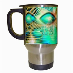 Golden Teal Peacock, Abstract Copper Crystal Travel Mug (White)