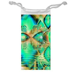 Golden Teal Peacock, Abstract Copper Crystal Jewelry Bag