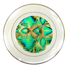 Golden Teal Peacock, Abstract Copper Crystal Porcelain Display Plate