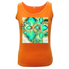 Golden Teal Peacock, Abstract Copper Crystal Women s Tank Top (Dark Colored)