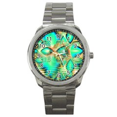 Golden Teal Peacock, Abstract Copper Crystal Sport Metal Watch
