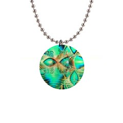 Golden Teal Peacock, Abstract Copper Crystal Button Necklace