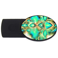 Golden Teal Peacock, Abstract Copper Crystal 4GB USB Flash Drive (Oval)