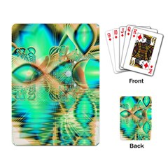 Golden Teal Peacock, Abstract Copper Crystal Playing Cards Single Design