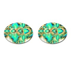 Golden Teal Peacock, Abstract Copper Crystal Cufflinks (Oval)