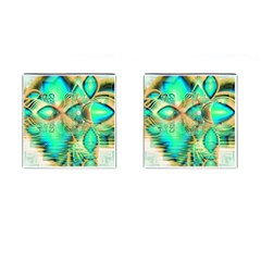 Golden Teal Peacock, Abstract Copper Crystal Cufflinks (Square)