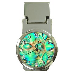 Golden Teal Peacock, Abstract Copper Crystal Money Clip with Watch