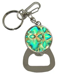 Golden Teal Peacock, Abstract Copper Crystal Bottle Opener Key Chain
