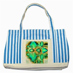 Golden Teal Peacock, Abstract Copper Crystal Blue Striped Tote Bag