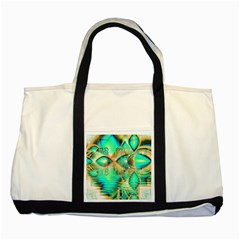 Golden Teal Peacock, Abstract Copper Crystal Two Toned Tote Bag