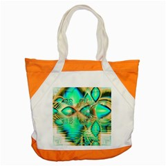 Golden Teal Peacock, Abstract Copper Crystal Accent Tote Bag