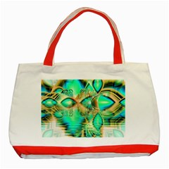 Golden Teal Peacock, Abstract Copper Crystal Classic Tote Bag (Red)
