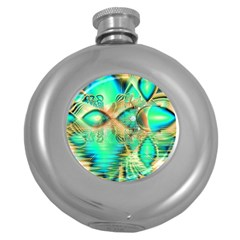 Golden Teal Peacock, Abstract Copper Crystal Hip Flask (Round)