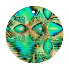 Golden Teal Peacock, Abstract Copper Crystal Round Ornament (Two Sides)