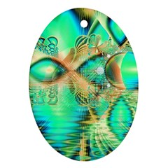 Golden Teal Peacock, Abstract Copper Crystal Oval Ornament (Two Sides)