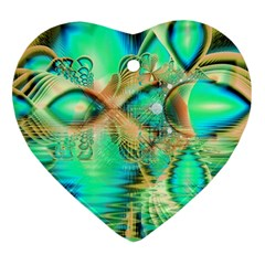Golden Teal Peacock, Abstract Copper Crystal Heart Ornament (Two Sides)