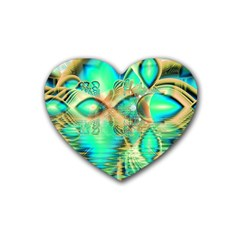 Golden Teal Peacock, Abstract Copper Crystal Drink Coasters 4 Pack (Heart)