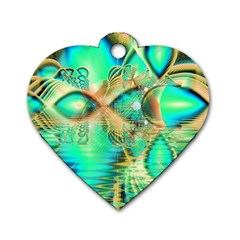 Golden Teal Peacock, Abstract Copper Crystal Dog Tag Heart (One Sided)