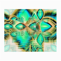 Golden Teal Peacock, Abstract Copper Crystal Glasses Cloth (small, Two Sided)