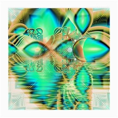Golden Teal Peacock, Abstract Copper Crystal Glasses Cloth (Medium, Two Sided)