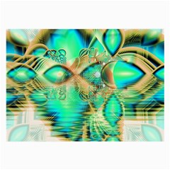 Golden Teal Peacock, Abstract Copper Crystal Glasses Cloth (Large)