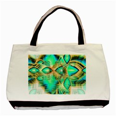 Golden Teal Peacock, Abstract Copper Crystal Twin-sided Black Tote Bag