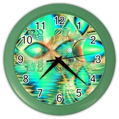 Golden Teal Peacock, Abstract Copper Crystal Wall Clock (Color)