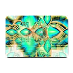 Golden Teal Peacock, Abstract Copper Crystal Small Door Mat
