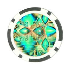 Golden Teal Peacock, Abstract Copper Crystal Poker Chip