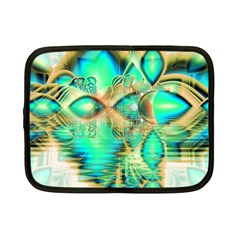 Golden Teal Peacock, Abstract Copper Crystal Netbook Sleeve (small)