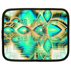 Golden Teal Peacock, Abstract Copper Crystal Netbook Sleeve (Large)