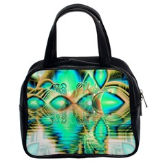 Golden Teal Peacock, Abstract Copper Crystal Classic Handbag (Two Sides)