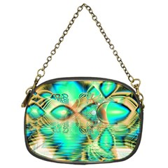 Golden Teal Peacock, Abstract Copper Crystal Chain Purse (One Side)