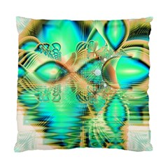 Golden Teal Peacock, Abstract Copper Crystal Cushion Case (Two Sided)