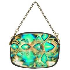 Golden Teal Peacock, Abstract Copper Crystal Chain Purse (Two Sided)