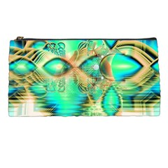 Golden Teal Peacock, Abstract Copper Crystal Pencil Case