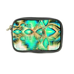Golden Teal Peacock, Abstract Copper Crystal Coin Purse