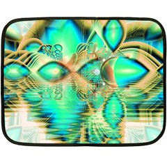 Golden Teal Peacock, Abstract Copper Crystal Mini Fleece Blanket (two Sided)