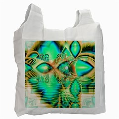 Golden Teal Peacock, Abstract Copper Crystal White Reusable Bag (One Side)