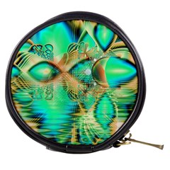 Golden Teal Peacock, Abstract Copper Crystal Mini Makeup Case