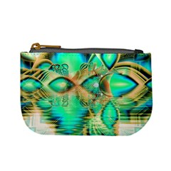 Golden Teal Peacock, Abstract Copper Crystal Coin Change Purse