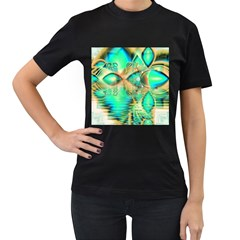Golden Teal Peacock, Abstract Copper Crystal Women s T-shirt (Black)