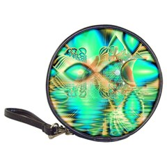 Golden Teal Peacock, Abstract Copper Crystal CD Wallet