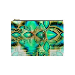Golden Teal Peacock, Abstract Copper Crystal Cosmetic Bag (Medium)